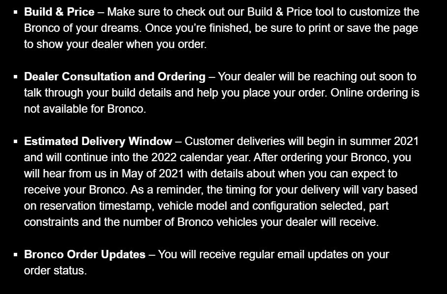 bronco order issues