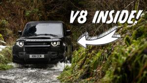 V8 Land Rover Defender water crossing